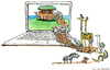 Cartoon: The new i-ark... (small) by Frits Ahlefeldt tagged animals,apple,imac,conservation,biology,wildlife,sustainability,biodiversity,ahlefeldt,elephants,giraffe,ark