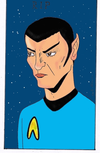 Cartoon: Leonard Nimoy (medium) by kader altunova tagged raumschiff,enterprise