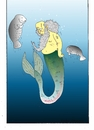 Cartoon: Mermaid Man (small) by kader altunova tagged meerjungfraumann,mermaid,man,meer,ozean,seekuh