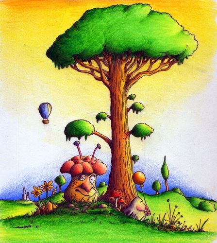 Cartoon: Pilz (medium) by Jupp tagged maulwurf,mole,luftballon,pilz,illustration,kinderbuch,baum,jupp