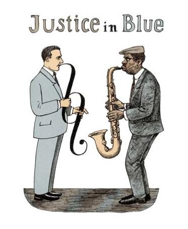 Cartoon: Justice In Blue (medium) by Jiri Sliva tagged blues,music,law,lawyer,justice