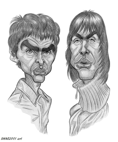 Cartoon: The Gallaghers (medium) by shar2001 tagged caricature,liam,and,noel,gallagher