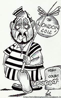Cartoon: In London fortune favours a Jai (medium) by mindpad tagged commonwealth,games,corruption,london,olympics,2012,suresh,kalmadi,caricature,cartoon,satire