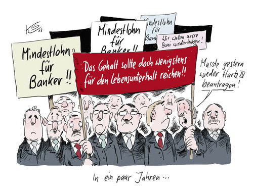 Cartoon: Mindestlohn (medium) by Stuttmann tagged bonus,boni,managergehälter,banker,mindestlohn