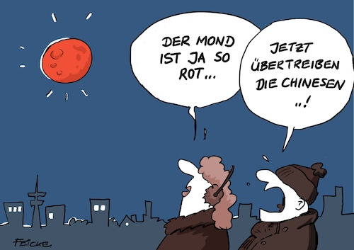 Cartoon: Blutmond (medium) by FEICKE tagged mond,landung,china,blutmond,rot,mond,landung,china,blutmond,rot