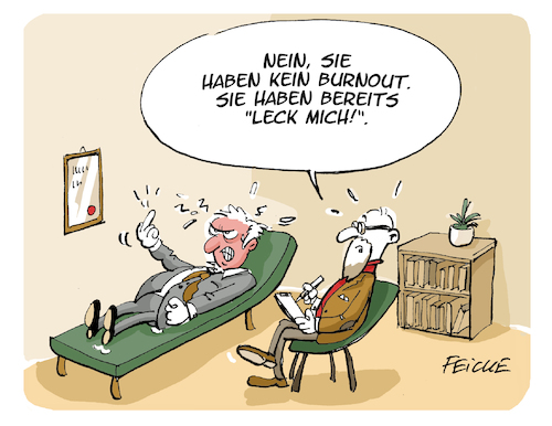 Cartoon: Kein Burnout (medium) by FEICKE tagged burnout,frust,psychiater,therapie,beruf,stress,aggression,burnout,frust,psychiater,therapie,beruf,stress,aggression