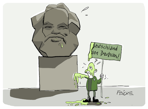 Cartoon: Marxdenkmal (medium) by FEICKE tagged chemnitz,nazi,demo,karl,marx,antifaschist,chemnitz,nazi,demo,karl,marx,antifaschist