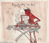 Cartoon: beauty day in the hell (small) by monika boos tagged hell,hölle,devil,teufel,bügeln,ironing