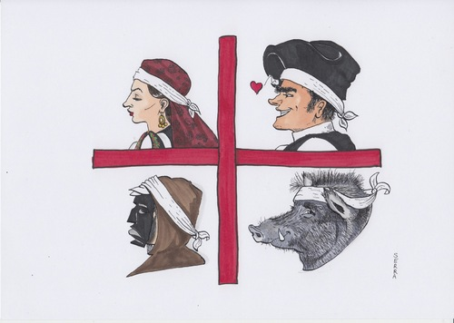 Cartoon: Sardinian Flag (medium) by secretcircle tagged animal,woman,man,mann,frau,wildschwein,maske,sardinien,sarde,sardin,sardisch,boar,flag,flagge