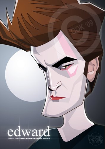 Cartoon: Robert Pattinson (medium) by Russ Cook tagged pattinson,robert,edward,vampire,actor,famous,celebrity,caricature,vector,karikaturen,karikatur,illustration,cook,russ,moon,new,twilight