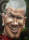 Cartoon: David Beckham (small) by Russ Cook tagged david,beckham,caricature,star,karikatur,karikaturen,zeichnung,acrylic,canvas,football,footie,celebrity,russ,cook,soccer