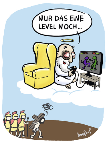 Cartoon: Level (medium) by Hopfauf tagged level,jesus,gott,game,spielen,konsole,kreuzigung,kreuz,sucht,süchtig,religion,videospiele