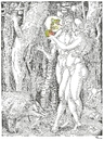 Cartoon: The Wood-Worm in the Apple (small) by Erwin Pischel tagged albrecht,dürer,adam,and,eve,und,eva,apfel,apple,schlange,snake,dns,dna,gentechnologie,gentechnology,pischel
