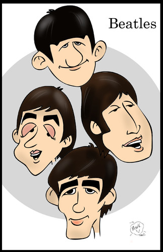 Cartoon: The Beatles (medium) by Mark Anthony Brind tagged mark,brind,beatles,cartoon,caricature