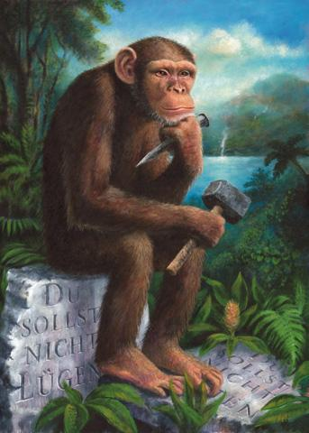 Cartoon: Der Philosoph (medium) by Ludvik Glazer-Naude tagged philosoph,affe,denken,natur,tiere,philosopher,monkey,think,nature,animal