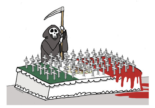 Cartoon: Macabre celebration (medium) by martirena tagged narco,mexico,dead,61,bodies