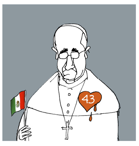 Cartoon: Pope shares the grief of the dis (medium) by martirena tagged the,normalistas,43,mexico,pope