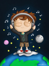 Cartoon: What makes you happy? (small) by kellerac tagged cartoon,caricatura,kid,space,music,musica,mexico,maria,keller,kellerac