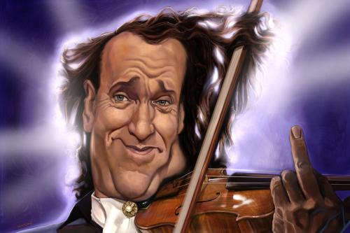 Cartoon: the waltz messiah  Andre Rieu (medium) by Ausgezeichnet tagged caricature,karikatur,andre,rieu,dutch,violinist,kitsch,tacky,thin,hair,music