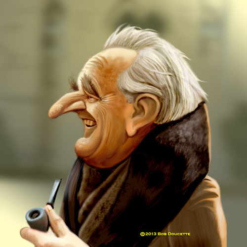 Cartoon: J R R Tolkien (medium) by tobo tagged tolkien,caricature