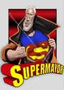 Cartoon: Super Mayor (small) by PlainYogurt tagged christchurch,earthquake,relief,art