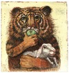 Cartoon: tiger and lamb (small) by Rainer Ehrt tagged tiger lamb lamm vision paradise animal violence peace