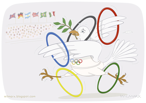 Cartoon: Dove of Peace in the Olympics (medium) by Wilmarx tagged olympics,peace