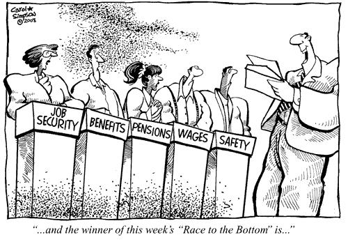 Cartoon: Race to the Bottom (medium) by carol-simpson tagged economy,wages,business,pensions,safety,security