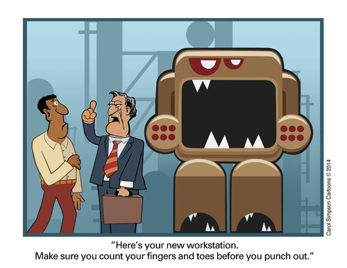 Cartoon: Your new work station (medium) by carol-simpson tagged safety,greed,corporate,workplace,hazards