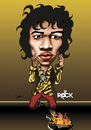 Cartoon: JIMI HENDRIX (small) by mitosdorock tagged jimi,hendrix,caricature,rock