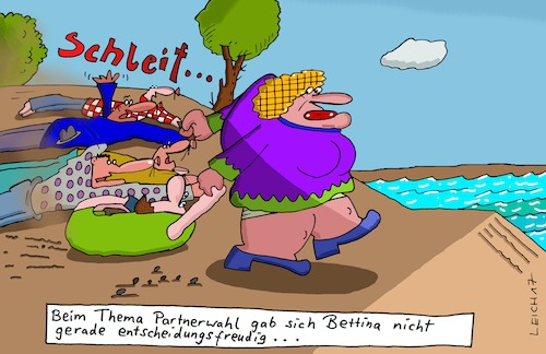 Cartoon: Bettina (medium) by Leichnam tagged bettina,schleif,partnerwahl,beziehung,mann,und,frau