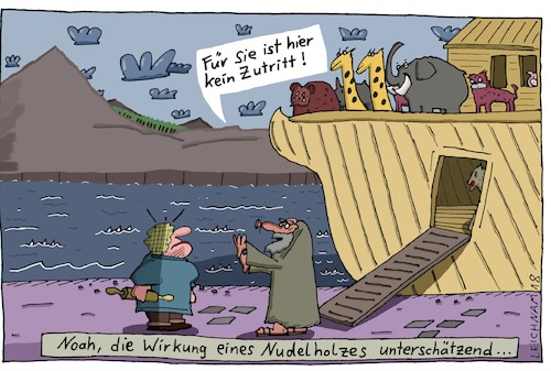 Cartoon: Biblisch (medium) by Leichnam tagged biblisch,wirkung,nudelholz,schabracke,kein,zutritt,arche,sintflut,bibel,leichnam,leichnamcartoon