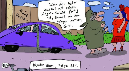 Cartoon: Nutzung (medium) by Leichnam tagged nutzung,vater,suizid,suicid,abgas,auto,wagen,selbstmord,grit,kaputt,ehe