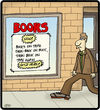 Cartoon: Books Back on Tape (small) by cartertoons tagged books,bookmarks,tape,listening,technology,stores,business
