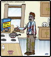 Cartoon: Brain Helper (small) by cartertoons tagged zombies,food,eating,cooking,brains,kitchens