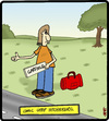 Cartoon: Comic Strip Hitchhiker (small) by cartertoons tagged comic,strips,hitchhikers,signs,travel,comics