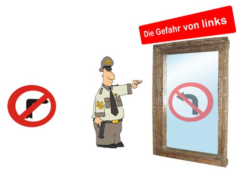 Cartoon: Die Gefahr von links (medium) by Fareus tagged rechtsextremismus,linksextremismus,npd,verbot