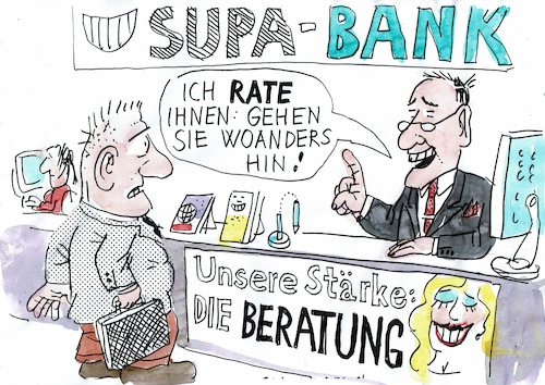 Cartoon: Beratung (medium) by Jan Tomaschoff tagged bank,kunden,bank,kunden