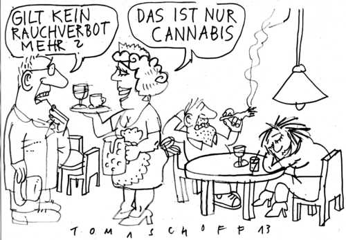 Cartoon: Cannabis für alle (medium) by Jan Tomaschoff tagged cannabis,drogen,rauchverbot,cannabis,drogen,rauchverbot