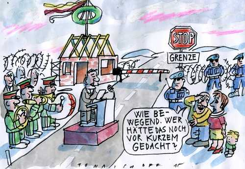 Cartoon: grenzwertig (medium) by Jan Tomaschoff tagged fremdenangst,grenzen,fremdenangst,grenzen