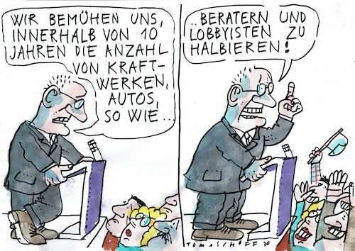 Cartoon: halbieren (medium) by Jan Tomaschoff tagged politik,lobby,geld,politik,lobby,geld