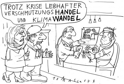 Cartoon: Handel und Wandel (medium) by Jan Tomaschoff tagged klimawandel,investitionen