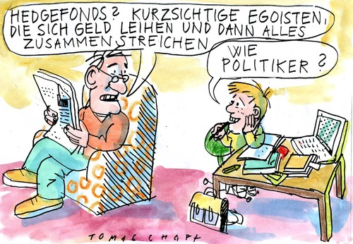 Cartoon: Hedgefonds (medium) by Jan Tomaschoff tagged hedgefonds,politiker,politiker,hedgefonds,fonds