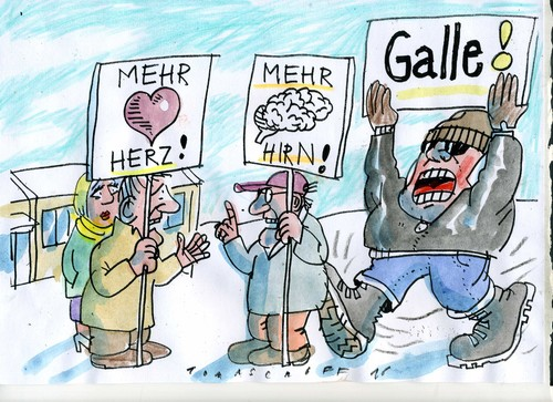 Cartoon: Herz oder Hirn (medium) by Jan Tomaschoff tagged migration,asyl,fremdenangst,migration,asyl,fremdenangst