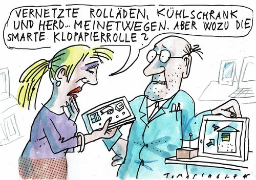 Cartoon: smartes Klopapier (medium) by Jan Tomaschoff tagged vernetztes,haus,smart,vernetztes,haus,smart