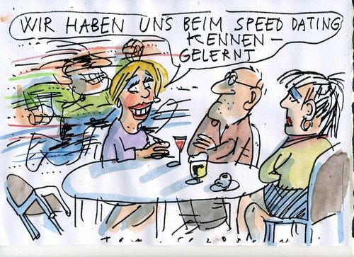 Cartoon: speed dating (medium) by Jan Tomaschoff tagged date,partnersuche,date,partnersuche