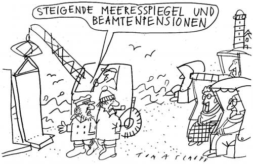 Cartoon: Spiegel (medium) by Jan Tomaschoff tagged beamtenpensionen,klimawandel