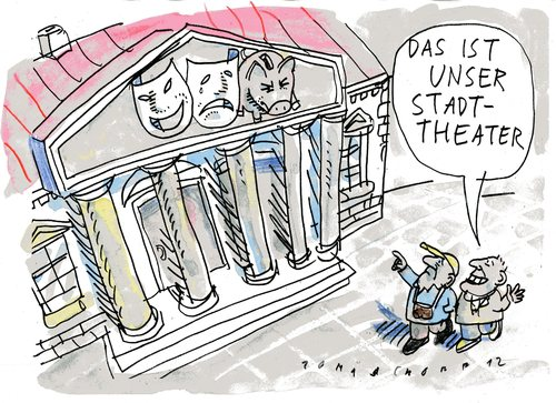 Cartoon: Theater (medium) by Jan Tomaschoff tagged theater,subventionen,kulturetat,theater,subventionen,kulturetat