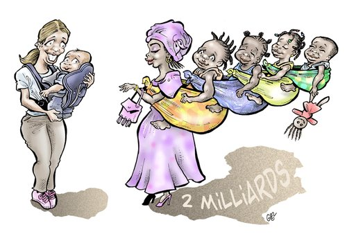 Cartoon: Demography (medium) by Damien Glez tagged demography,africa,europe,population,hunger,starving,aids
