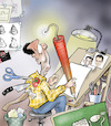 Cartoon: Responsible caricaturist (small) by Damien Glez tagged responsible,caricaturist,cartoon,caricature,press,media
